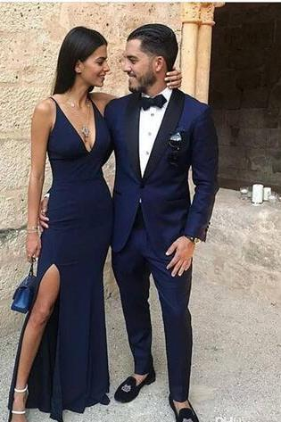 Sexy Navy V-Neck Long Prom Dresses New Simple Sexy Side Split Long Evening Dresses BD405