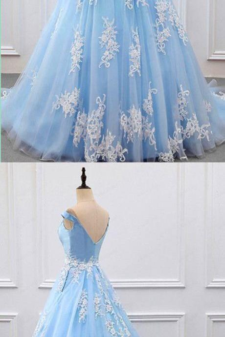 Newest V-Neck Appliques Prom Dresses,Long Prom Dresses,Cheap Prom Dresses BD407