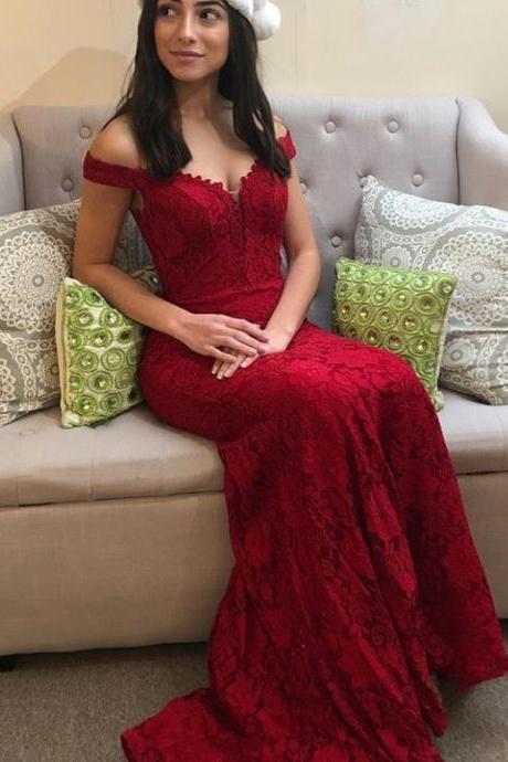 Lace Red Elegant Prom Dresses Off Shoulder Pageant Dress BD436