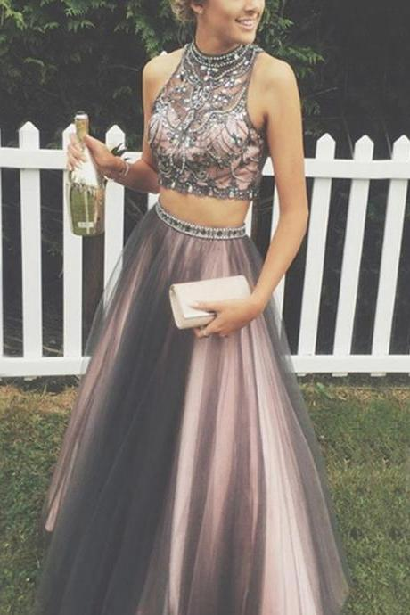 Two-Piece High Neck Floor-Length Rhinestone Grey Prom Dress with Beading BD438
