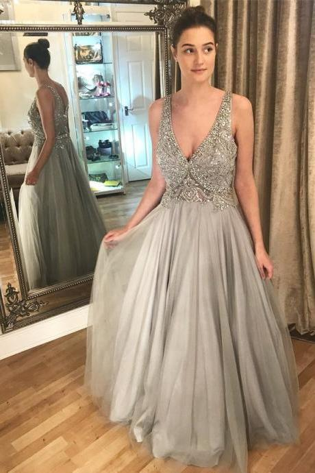 Sexy V Neck Tulle Crystal Beaded Prom Dresses, Long Evening Dress BD446