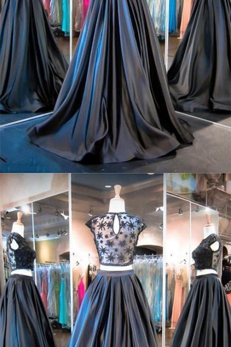 Black Evening Gowns,2 Pieces Party Dresses,Black Evening Gowns BD455