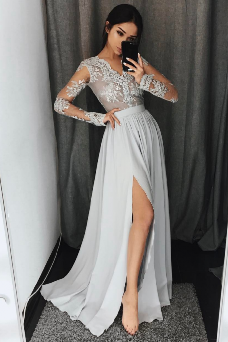 Gray A-Line long sleeve lace prom dress,gray evening dresses,BD512