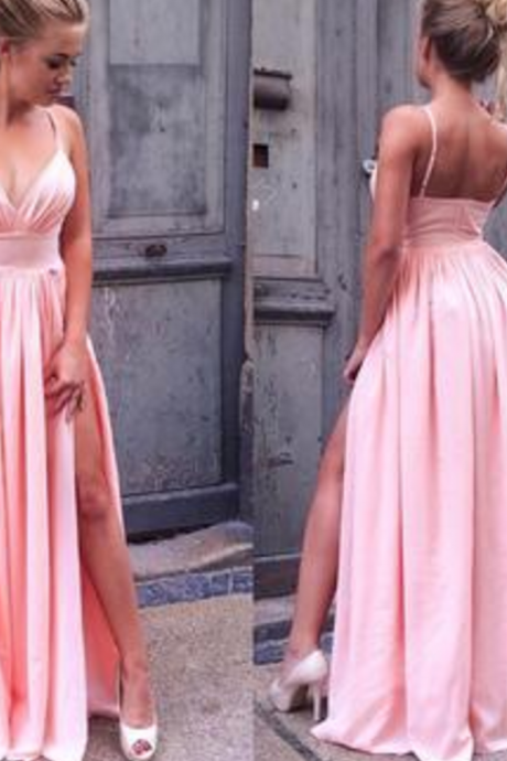 Sexy A-Line Pink Prom Dress Long Spaghetti Straps Backless Split Side Chiffon Evening Dresses,BD519