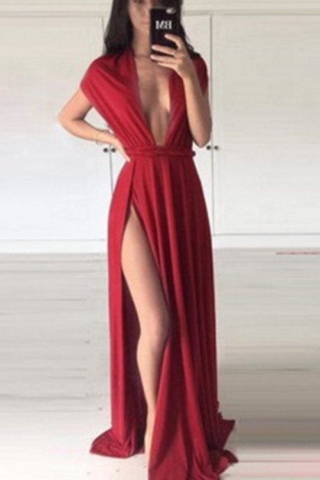 Red Robe De Soiree Sexy High Slit Deep V Neck Long Prom Dresses Prom Gown Evening Dress,BD521
