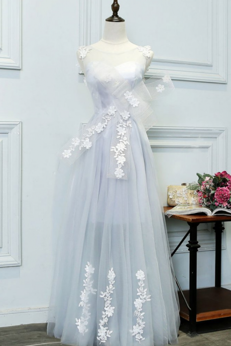 Unique gray tulle lace applique long prom dress, evening dress,BD530