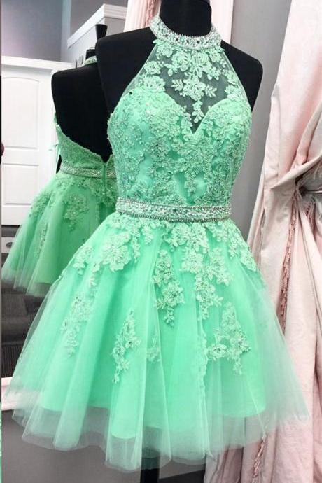 halter homecoming dress,tulle homecoming dress,short prom dresses,lace homecoming dress,elegant party dress,BD539