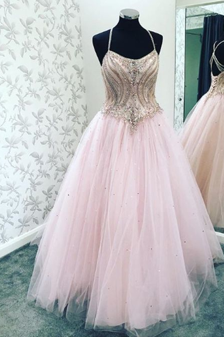 A-line Straps Beaded Pink Tulle Long Evening Prom Dresses,BW92059