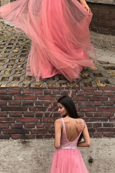 A-Line V-neck Backless Floor-Length Pink Prom Dress with Beading,BW92075