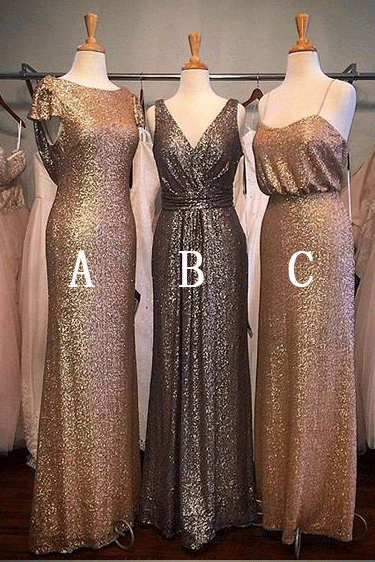 Sequin Mismatched Long Wedding Bridesmaid Dresses,BW92164
