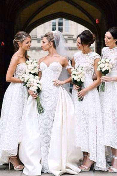 White Lace Mismatched Styles Long Bridesmaid Dresses,BW92173