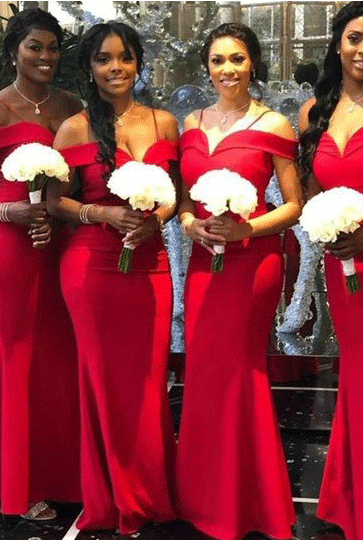 Mermaid Off-the-Shoulder Sleeveless Floor-Length Modern Red Bridesmaid Dress,BW92207