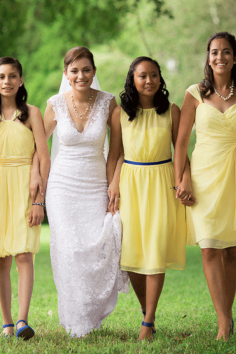 Yellow Bridesmaid Dresses,Mismatched Short Dresses,BW92215