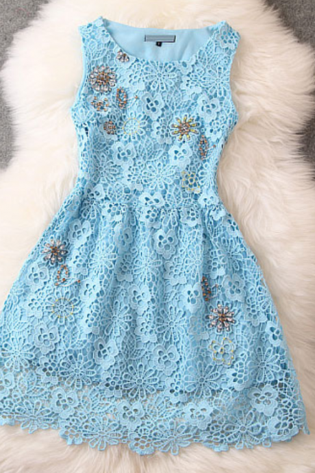 Fashion Crochet Handmade Beading Party Dress,BW92258
