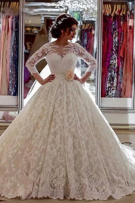 Long Sleeves Lace Appliques Ball Gowns Wedding Dresses,BW92263