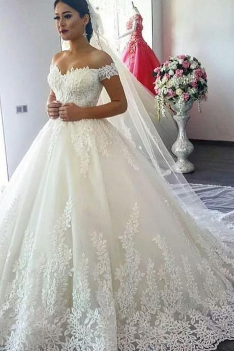 Short Sleeves Lace Wedding Dress,Bridal Dress,BW92274