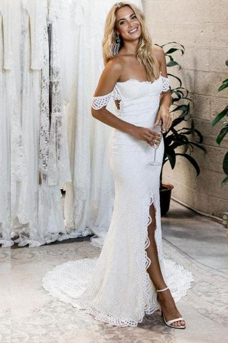 Mermaid Off-the-Shoulder Sweep Train White Lace Wedding Dress with Split,BW92355