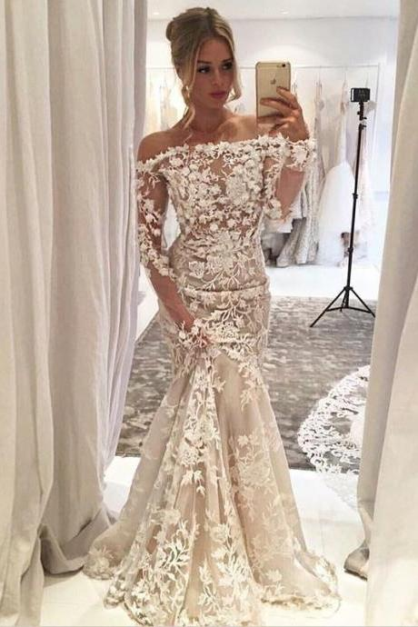 Mermaid Off-the-Shoulder Long Sleeves Sweep Train Wedding Dress with Appliques,BW92367
