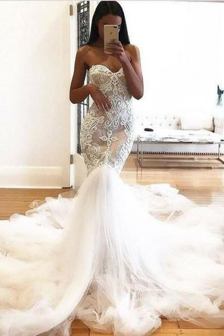 Mermaid Sweetheart Backless Court Train Wedding Dress with Appliques,BW92378