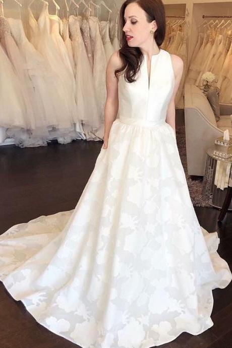 A-Line Round Neck Sweep Train Printed Satin Wedding Dress with Pockets,BW92385