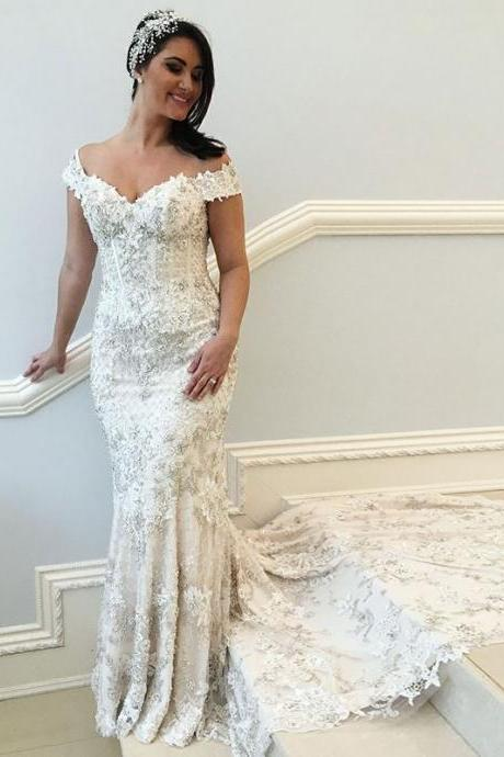 Mermaid Off-the-Shoulder Court Train Wedding Dress with Appliques,BW92406