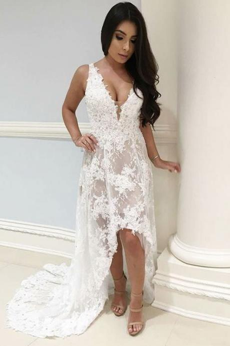 A-Line V-Neck High Low White Wedding Dress with Appliques,BW92408