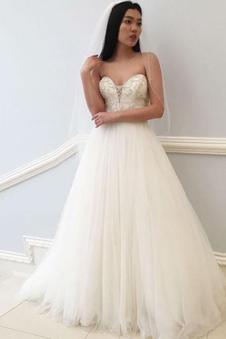A-Line Sweetheart Floor-Length White Wedding Dress with Beading,BW92409