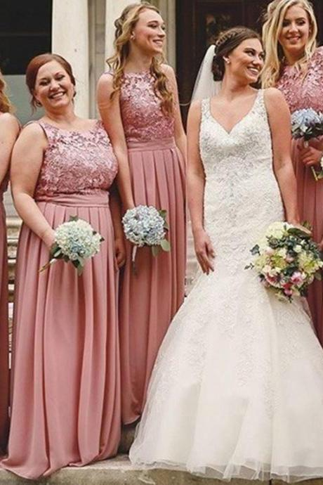 A-Line Round Neck Long Blush Bridesmaid Dress with Lace,BW92439