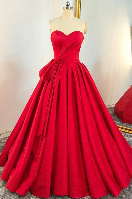 Red Satin Sweetheart Pleated A Line Prom Dress, Evening Dress,BW92472