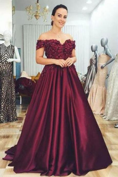 A-line Off-the-shoulder Burgundy Prom Dresses With Lace Evening Gowns,BW92514