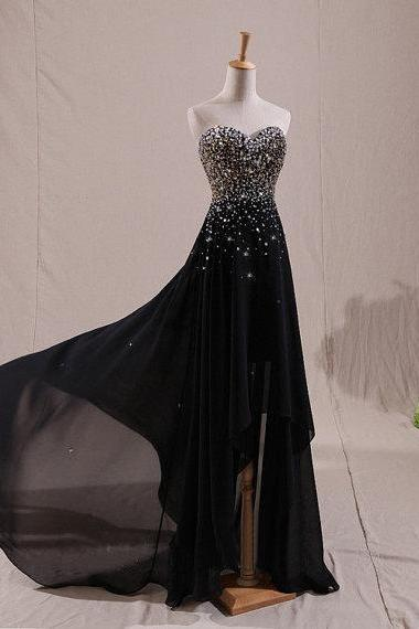 Black Bridesmaid Dresses, Sweetheart Bridesmaid Dresses, Beading Bridesmaid Dresses,BW92572