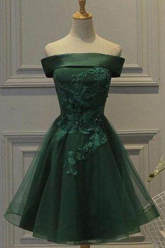 Dark Green Tulle Off Shoulder A Line Homecoming Dress with Appliques,BW92661