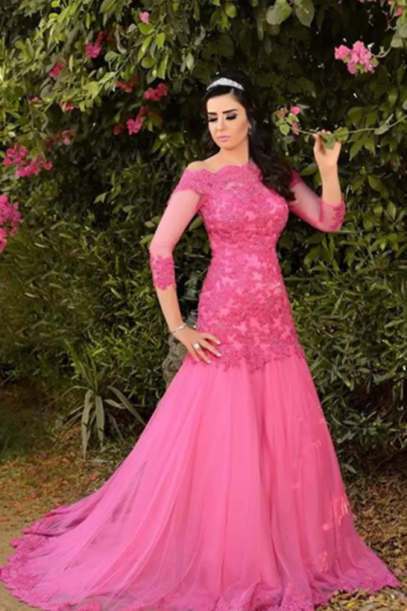 Evening Dress Turkey Sexy Off the Shoulders Hot Pink Tulle Lace Appliques Mermaid Prom Dresses Elegant Formal Gowns with Sleeves,BW92673