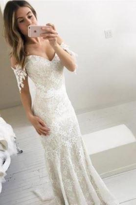 Affordable Off the Shoulder Mermaid Lace Long Prom Wedding Dresses,BW92676