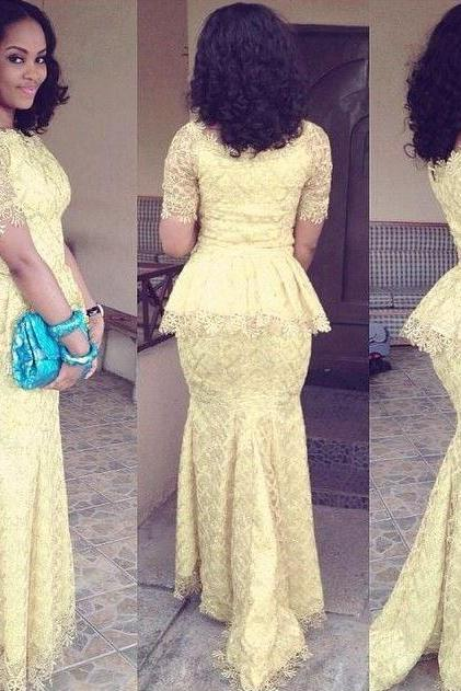 Yellow Bridesmaid Dresses Sexy Mermaid Plus size Lace Wedding Guest Dresses with Short Sleeves,BW92712