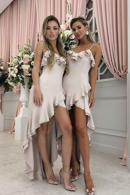 A-Line Spaghetti Straps Light Pink Satin Bridesmaid Dress with Ruffles,BW92748