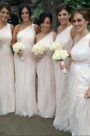 Simple One Shoulder Long Bridesmaid Dresses Chiffon Prom Dresses With Sleeveless,BW92769