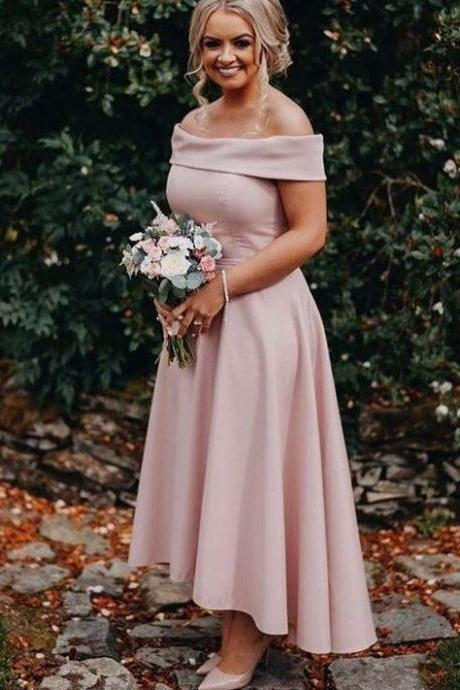 Dusty Pink Jersey Off Shoulder High Low Ankle Length Bridesmaid Dresses,BW92775