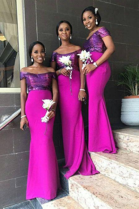 Africa Style Prom Evening Gowns Off Shoulders Long Floor Length Bridal Bridesmaid Dresses,BW92822
