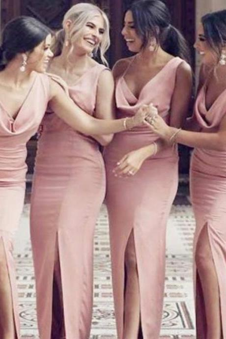 Sexy Pink Mermaid Side Slit Long Bridesmaid Dresses,BW92843