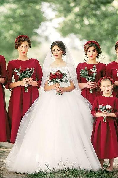 Red Bridesmaid Dresses,Long Sleeve Bridesmaid Dresses,Wedding Party Dresses,BW92866