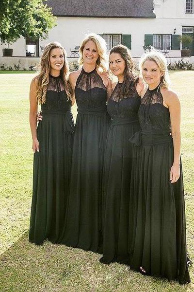 Black High Halter Neck Floor Length A-Line Bridesmaid Dress,BW92885