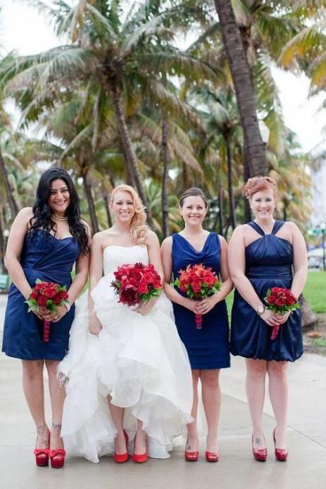 Mismatched Bridesmaids Dresses,Sweetheart Short Bride Maid Gowns,BW92892