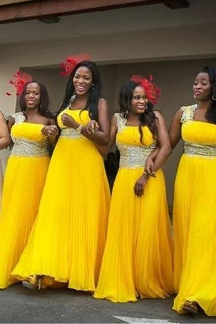 Yellow Bridesmaid Dress,Floor Length Beading Bridesmaid Dress,Chiffon Bridesmaid Dresss,BW92912