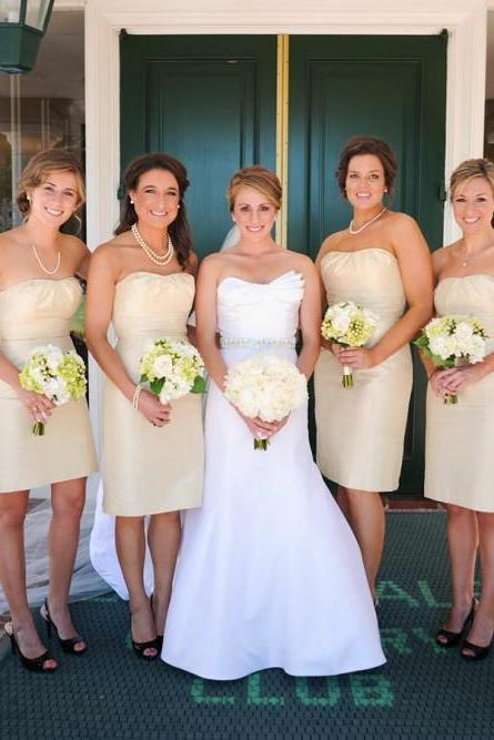 A-Line Strapless Knee-Length Beige Satin Bridesmaid Dress,BW92938