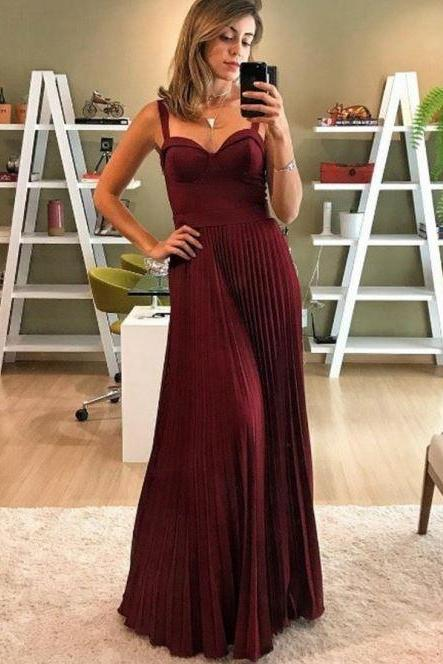 A-Line Spaghetti Straps Pleated Dark Red Satin Prom Dress,BW92949