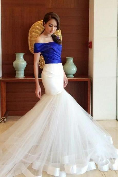 Dubai Royal Blue and Ivory Mermaid Prom Dresses Arabic Off Shoulders Ruched Long Sleeve Court Train Evening Party Gowns Elegant Prom Dress,BW93021