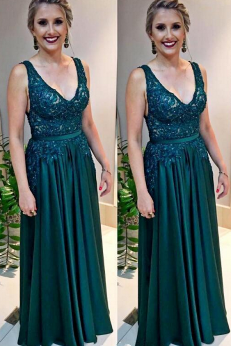 Cheap Hunter Green Long Prom Dresses V Neck Lace Chiffon Boho Arabic Evening Gown Plus Size Mother's Formal Wear vestidos,BW93024
