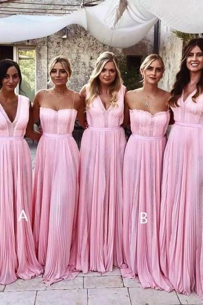 Pink Chiffon Mismatched Charming Fashion Long Bridesmaid Dresses,BW93032