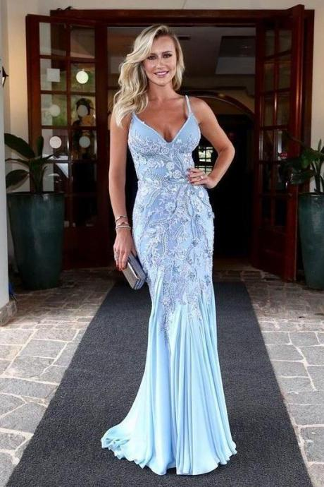 Chic Mermaid Spaghetti Straps Sky Blue Satin Long Prom Dresses with Appliques,BW93175